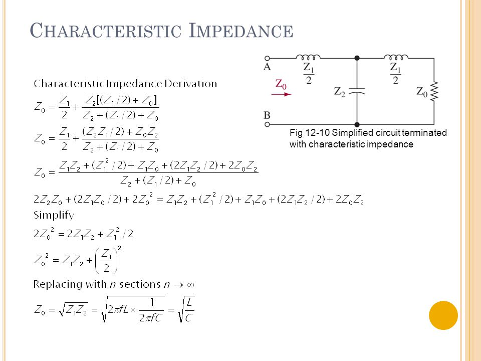 C HARACTERISTIC I MPEDANCE Fig 12-10 Simplified circuit terminated with characteristic impedance