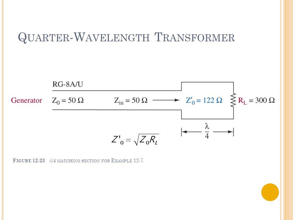 Q UARTER -W AVELENGTH T RANSFORMER F IGURE 12-23 /4 MATCHING SECTION FOR E XAMPLE 12-7.