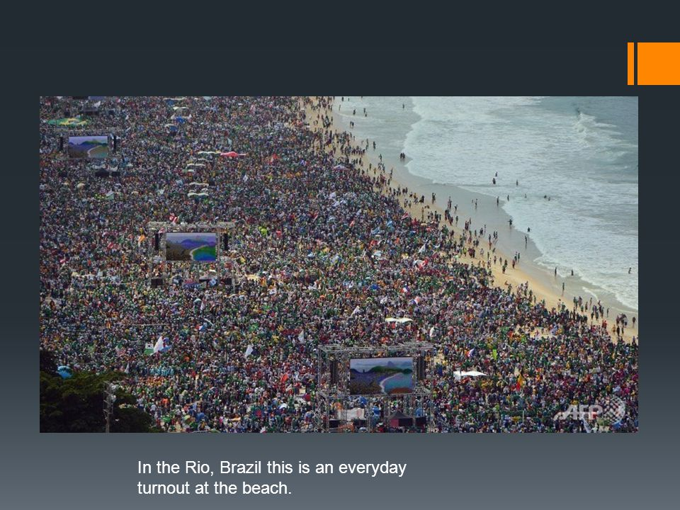 Overpopulation in the World In the Rio, Brazil this is an everyday turnout at the beach.