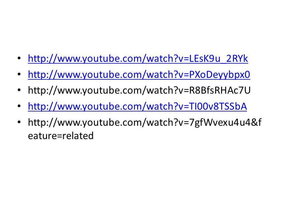 http://www.youtube.com/watch v=LEsK9u_2RYk http://www.youtube.com/watch v=PXoDeyybpx0 http://www.youtube.com/watch v=R8BfsRHAc7U http://www.youtube.com/watch v=TI00v8TSSbA http://www.youtube.com/watch v=7gfWvexu4u4&f eature=related