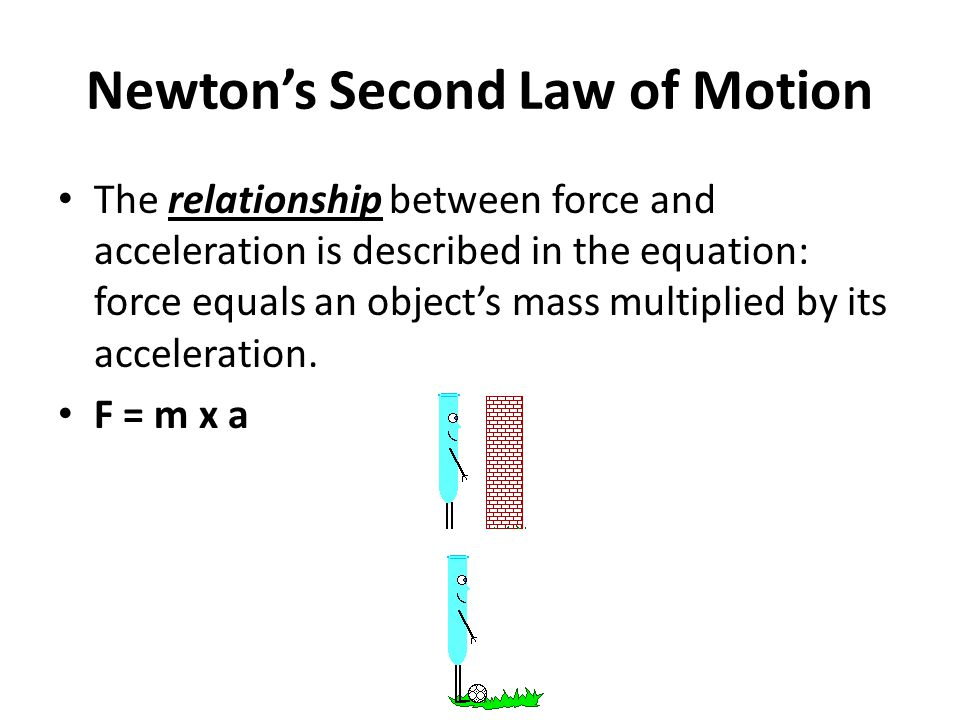 Newton's Second Law of Motion The relationship between force and acceleration is described in the equation: force equals an object's mass multiplied by its acceleration.
