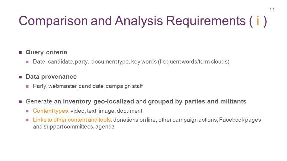 + Comparison and Analysis Requirements ( i ) 11 Query criteria Date, candidate, party, document type, key words (frequent words/term clouds) Data provenance Party, webmaster, candidate, campaign staff Generate an inventory geo-localized and grouped by parties and militants Content types: video, text, image, document Links to other content and tools: donations on line, other campaign actions, Facebook pages and support committees, agenda