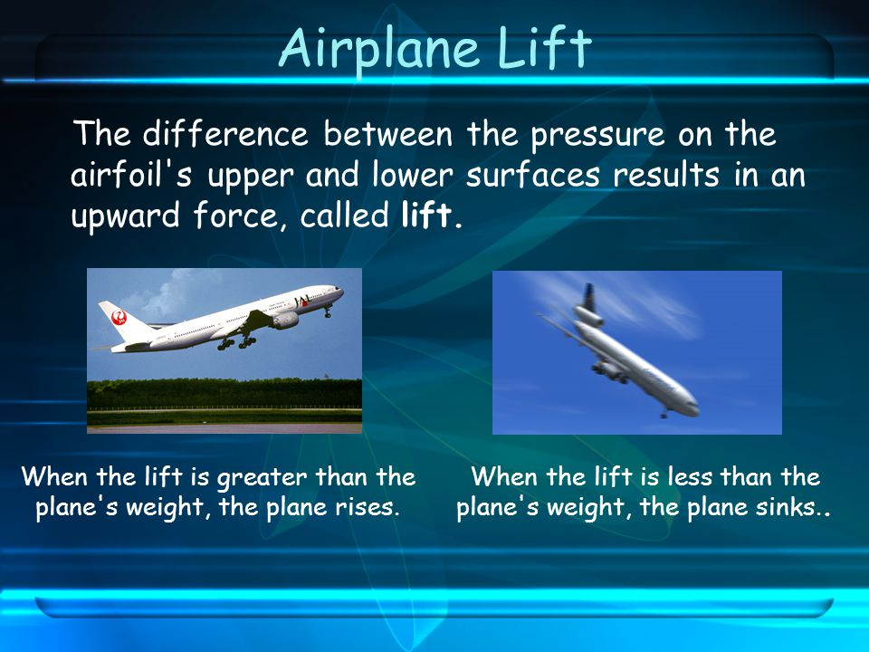 Airplane Lift The difference between the pressure on the airfoil s upper and lower surfaces results in an upward force, called lift.