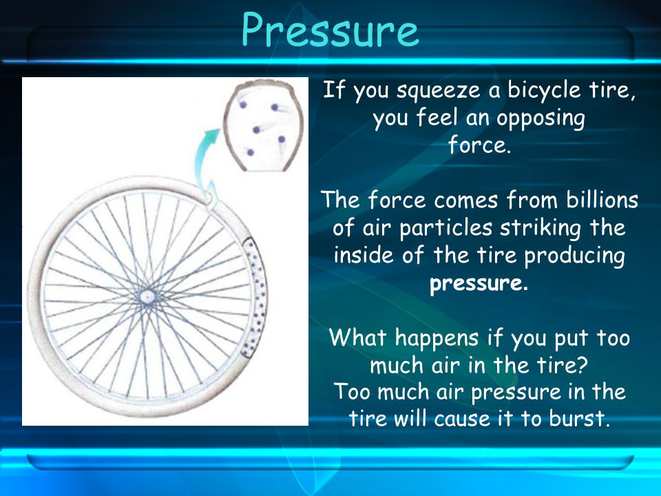 If you squeeze a bicycle tire, you feel an opposing force.