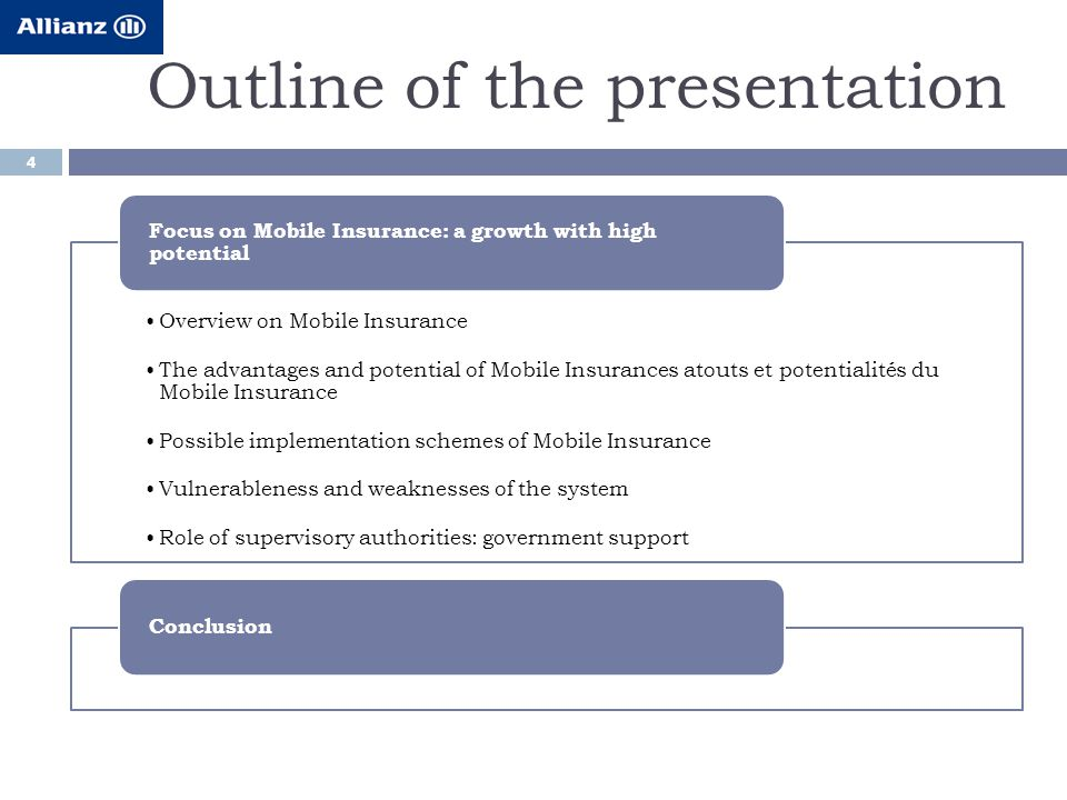 Outline of the presentation 4 Overview on Mobile Insurance The advantages and potential of Mobile Insurances atouts et potentialités du Mobile Insurance Possible implementation schemes of Mobile Insurance Vulnerableness and weaknesses of the system Role of supervisory authorities: government support Focus on Mobile Insurance: a growth with high potential Conclusion