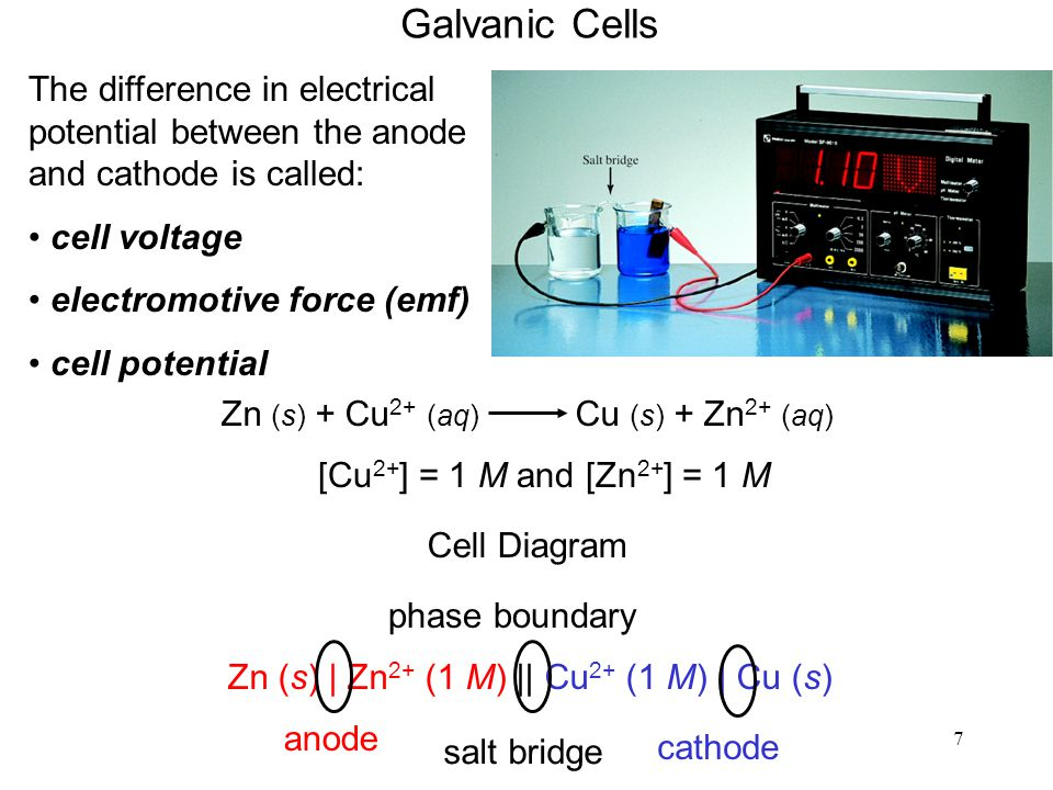 7 Galvanic Cells The difference in electrical potential between the anode and cathode is called: cell voltage electromotive force (emf) cell potential