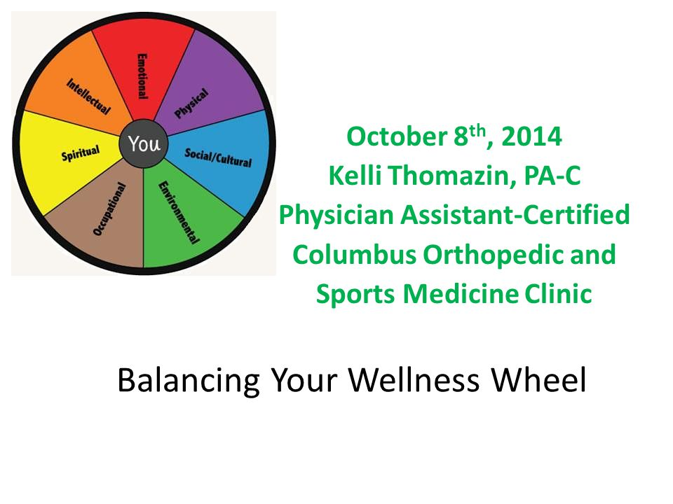 Balancing Your Wellness Wheel October 8 th, 2014 Kelli Thomazin, PA-C Physician Assistant-Certified Columbus Orthopedic and Sports Medicine Clinic