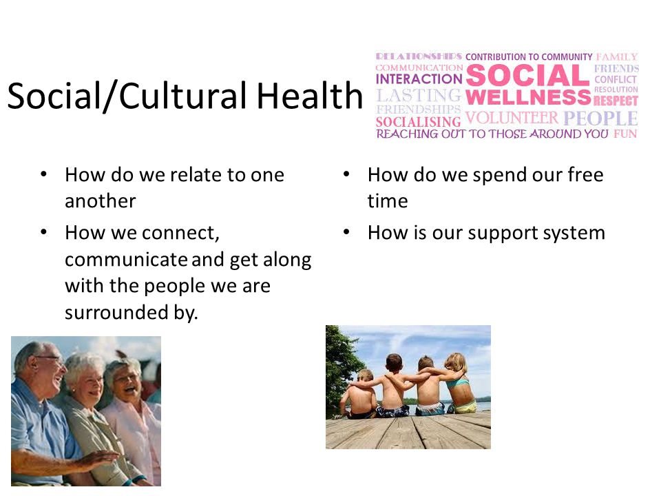 Social/Cultural Health How do we relate to one another How we connect, communicate and get along with the people we are surrounded by.