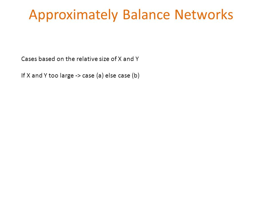 Approximately Balance Networks Cases based on the relative size of X and Y If X and Y too large -> case (a) else case (b)