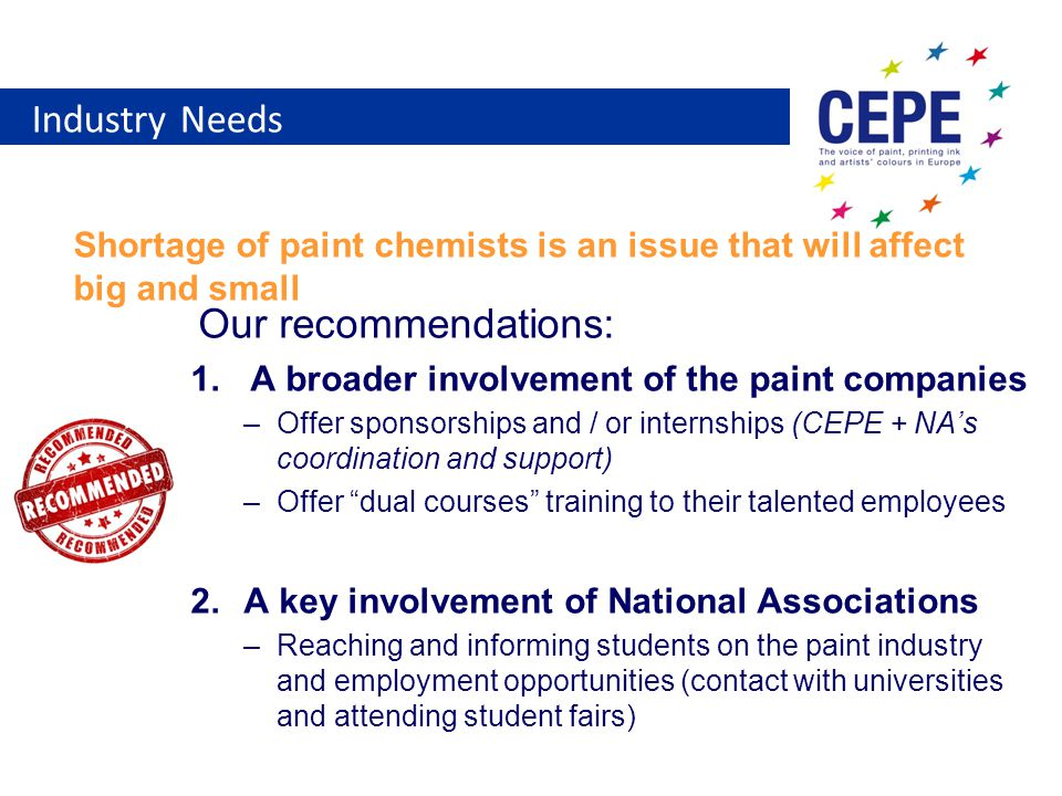 Industry Needs Shortage of paint chemists is an issue that will affect big and small Our recommendations: 1.A broader involvement of the paint companies –Offer sponsorships and / or internships (CEPE + NA's coordination and support) –Offer dual courses training to their talented employees 2.A key involvement of National Associations –Reaching and informing students on the paint industry and employment opportunities (contact with universities and attending student fairs)