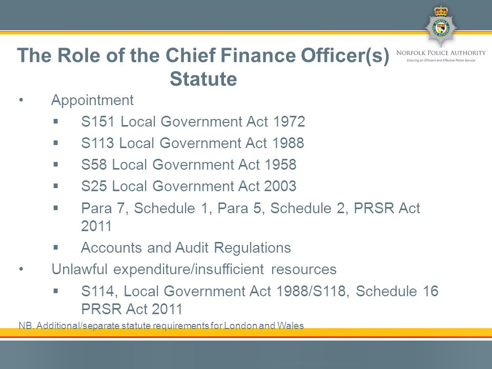 Unlawful expenditure/Unbalanced budget CFO reporting Personal statutory duty The Role of the Chief Finance Officer(s) S114 Local Government Act 1988