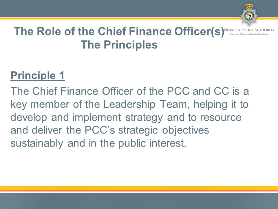 Principle 1 The Chief Finance Officer of the PCC and CC is a key member of the Leadership Team, helping it to develop and implement strategy and to resource and deliver the PCC's strategic objectives sustainably and in the public interest.