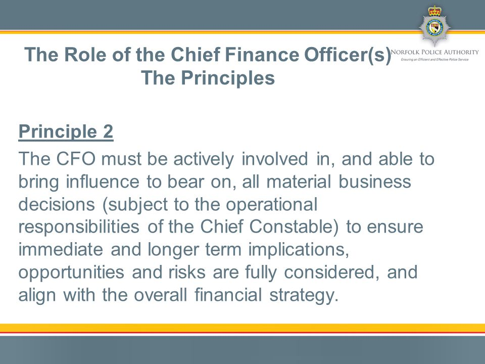 Principle 3 The CFO must lead and encourage the promotion and delivery of good financial management so that public money is safeguarded at all times and used appropriately, economically, efficiently, and effectively.