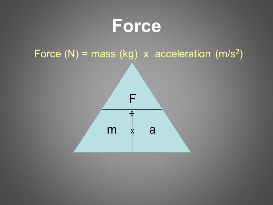 Force Force (N) = mass (kg) x acceleration (m/s 2 ) F ÷ m x a