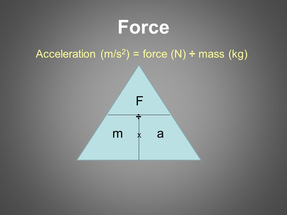 Force Acceleration (m/s 2 ) = force (N) ÷ mass (kg) F ÷ m x a