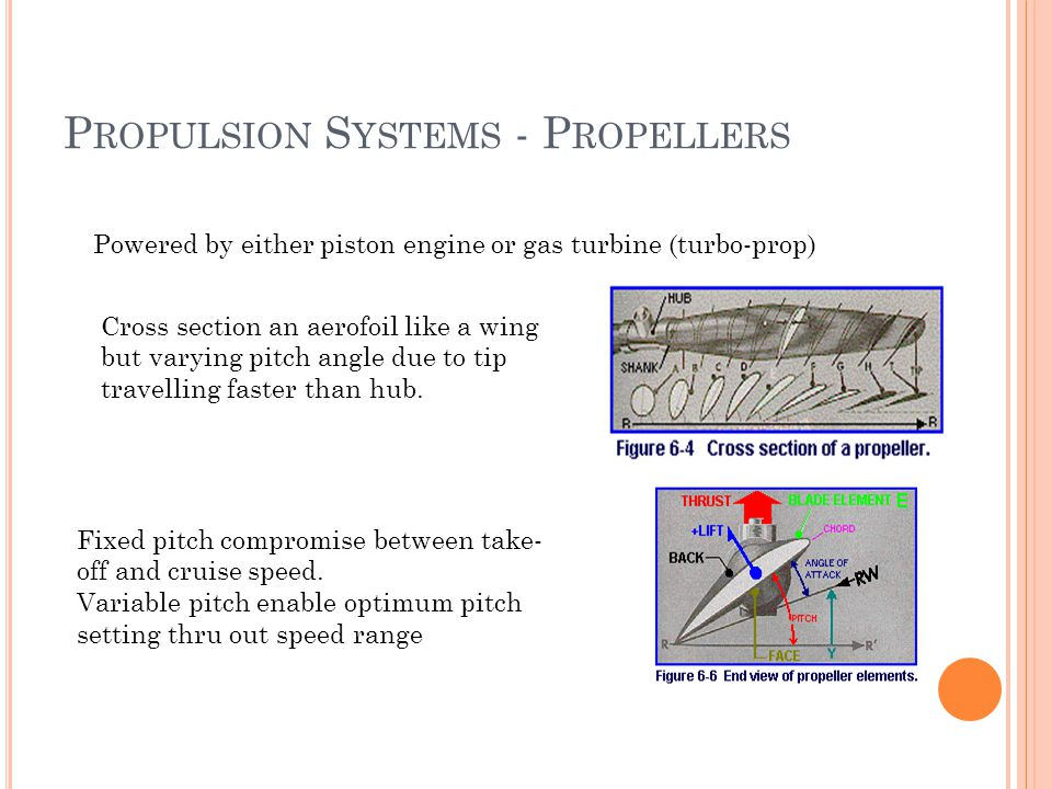 P ROPULSION S YSTEMS - P ROPELLERS Powered by either piston engine or gas turbine (turbo-prop) Cross section an aerofoil like a wing but varying pitch angle due to tip travelling faster than hub.