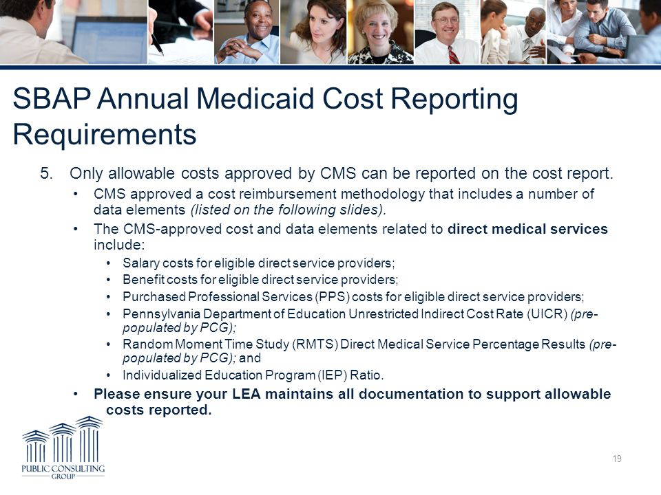 SBAP Annual Medicaid Cost Reporting Requirements 5.