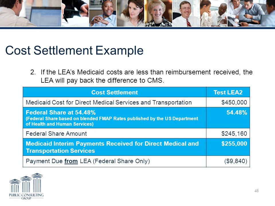 Cost Settlement Example 48 2.If the LEA's Medicaid costs are less than reimbursement received, the LEA will pay back the difference to CMS.