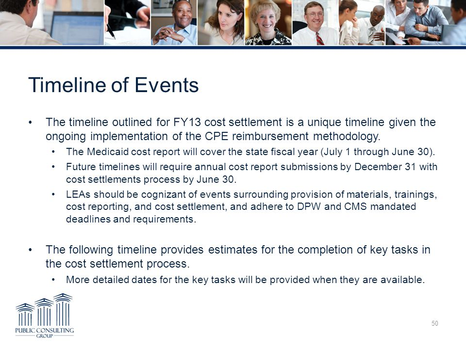Timeline of Events The timeline outlined for FY13 cost settlement is a unique timeline given the ongoing implementation of the CPE reimbursement methodology.