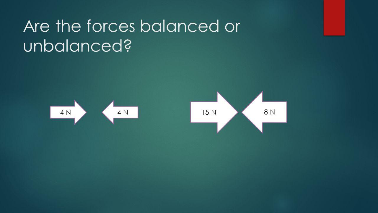 Are the forces balanced or unbalanced? 4 N 15 N 8 N