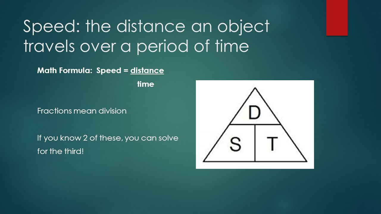 Speed: the distance an object travels over a period of time Math Formula: Speed = distance time Fractions mean division If you know 2 of these, you ca