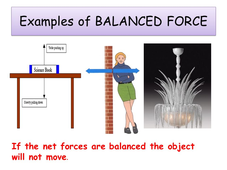 Balanced and Unbalanced Forces  The net force tells you whether the forces on the object are balanced or unbalanced.