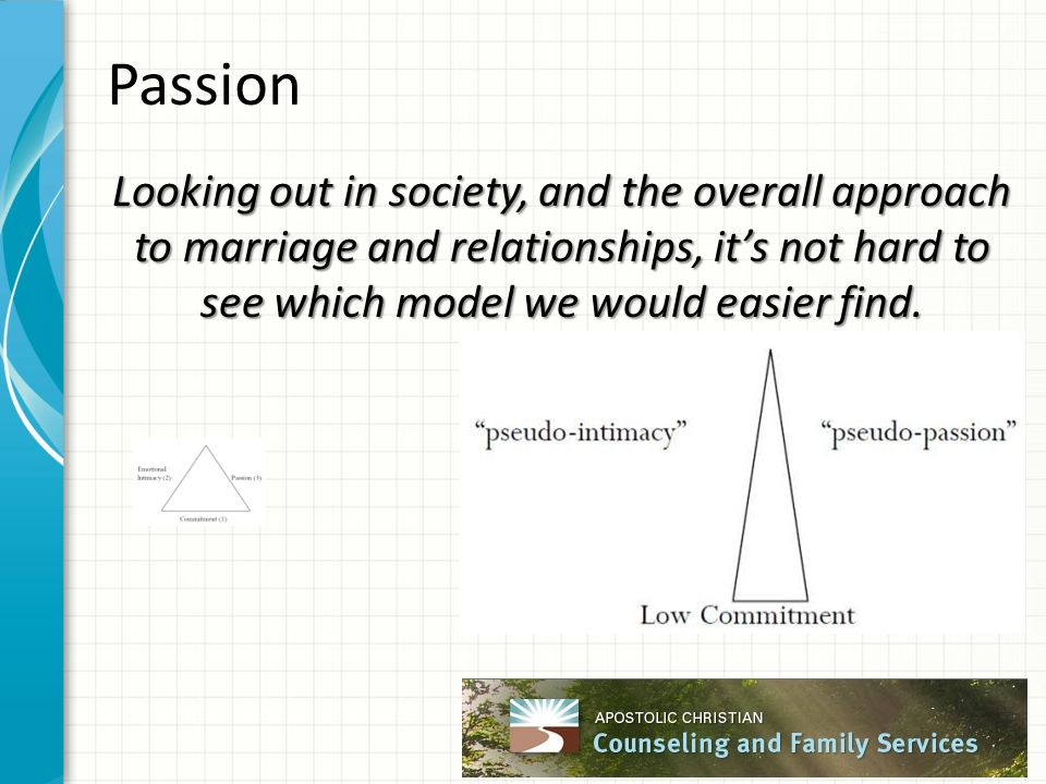 Passion Looking out in society, and the overall approach to marriage and relationships, it's not hard to see which model we would easier find.