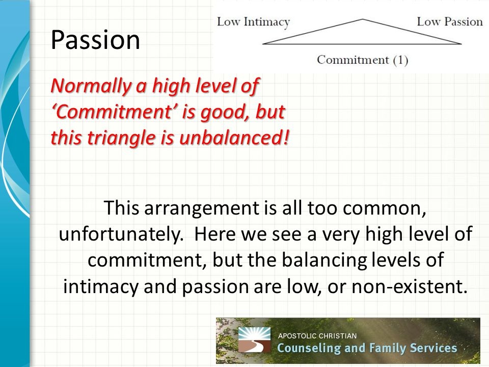 Passion Normally a high level of 'Commitment' is good, but this triangle is unbalanced! This arrangement is all too common, unfortunately. Here we see