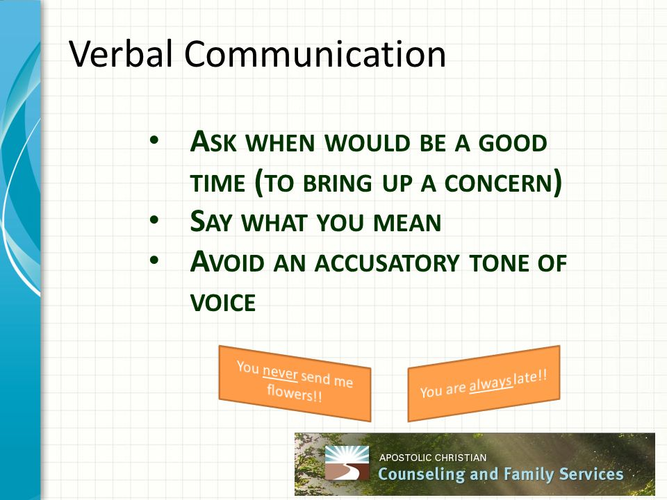 Verbal Communication A SK WHEN WOULD BE A GOOD TIME ( TO BRING UP A CONCERN ) S AY WHAT YOU MEAN A VOID AN ACCUSATORY TONE OF VOICE