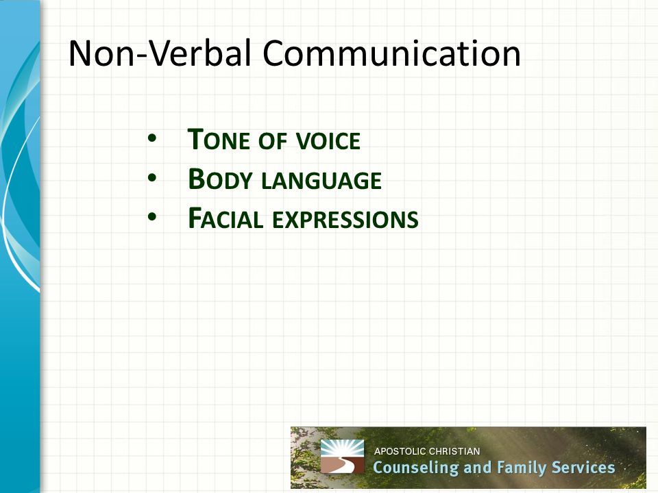 Non-Verbal Communication T ONE OF VOICE B ODY LANGUAGE F ACIAL EXPRESSIONS