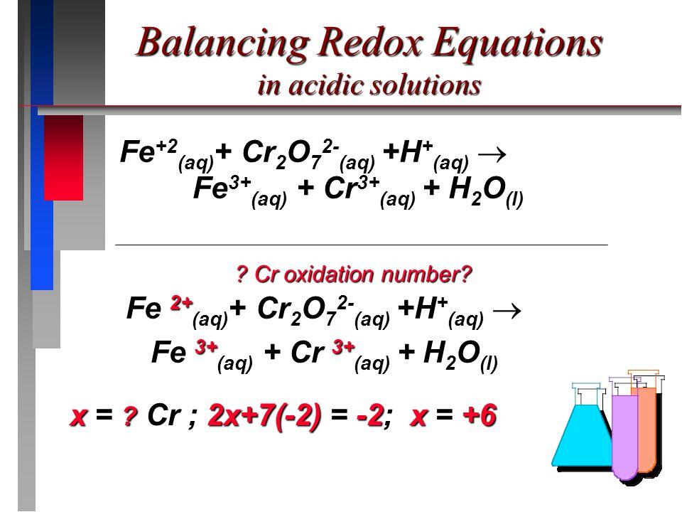 Fe +2 (aq) + Cr 2 O 7 2- (aq) +H + (aq) Fe 3+ (aq) + Cr 3+ (aq) + H 2 O (l) Fe +2 (aq) + Cr 2 O 7 2- (aq) +H + (aq)  Fe 3+ (aq) + Cr 3+ (aq) + H 2 O (l) Fe 2+ (aq) + Cr 2 O 7 2- (aq) +H + (aq) Fe 2+ (aq) + Cr 2 O 7 2- (aq) +H + (aq)  Fe 3+ (aq) + Cr 3+ (aq) + H 2 O (l) x = .