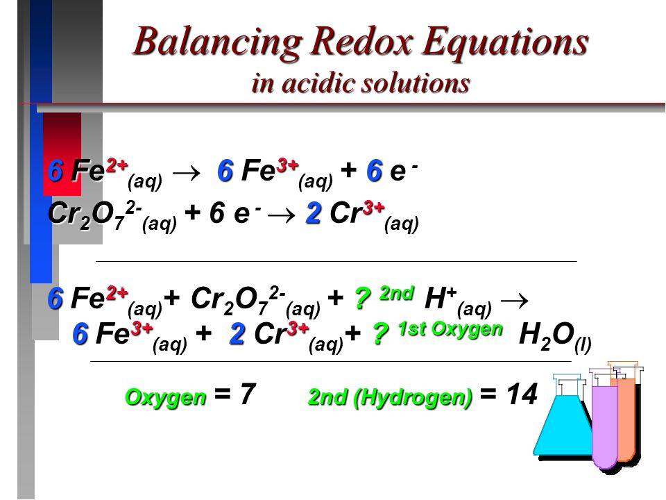 6 Fe 2+ (aq) 6 Fe 3+ (aq) + 6 e - 6 Fe 2+ (aq)  6 Fe 3+ (aq) + 6 e - Cr 2 O 7 2- (aq) + 6 e - 2 Cr 3+ (aq) Cr 2 O 7 2- (aq) + 6 e -  2 Cr 3+ (aq) 6 Fe 2+ (aq) + Cr 2 O 7 2- (aq) + .