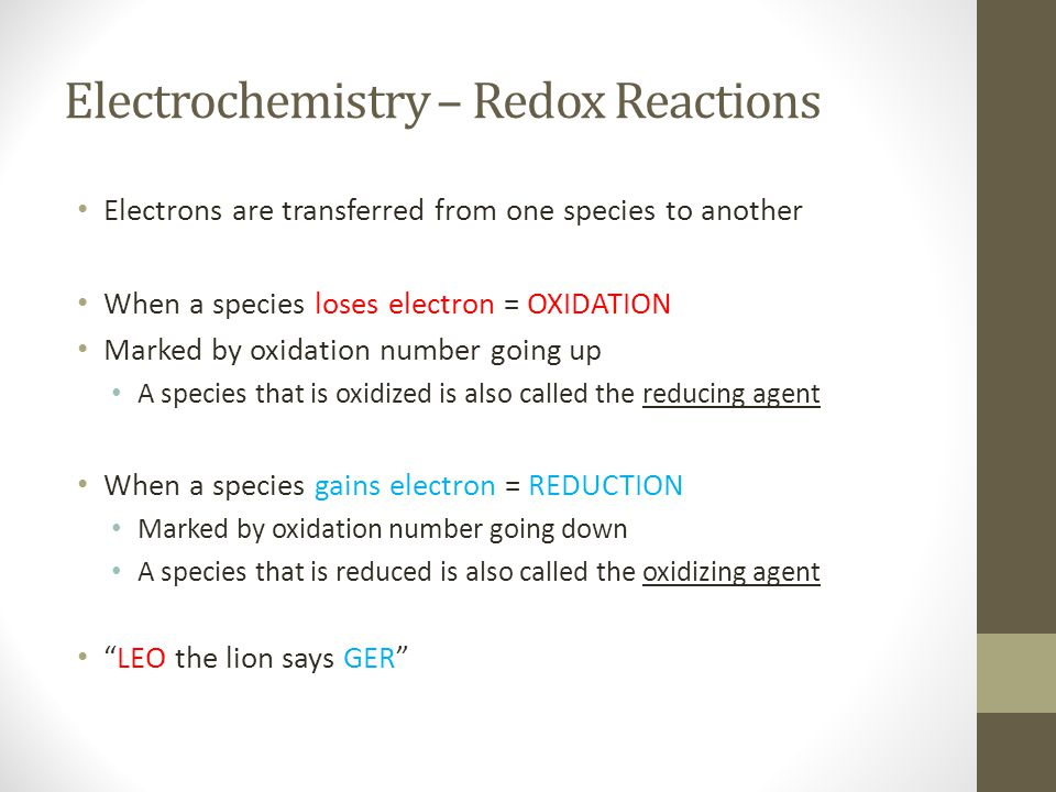 Thermodynamics of Redox Reactions Example: Calculate standard free-energy change for the following reaction at 25 °C: 2 Au (s) + 3 Ca 2+ (1.0 M)  2 Au 3+ (1.0 M) + 3 Ca (s) -------------------------------------------------------------------------- Step 1: Determine what equation to use: In this case, you are looking for ΔG.