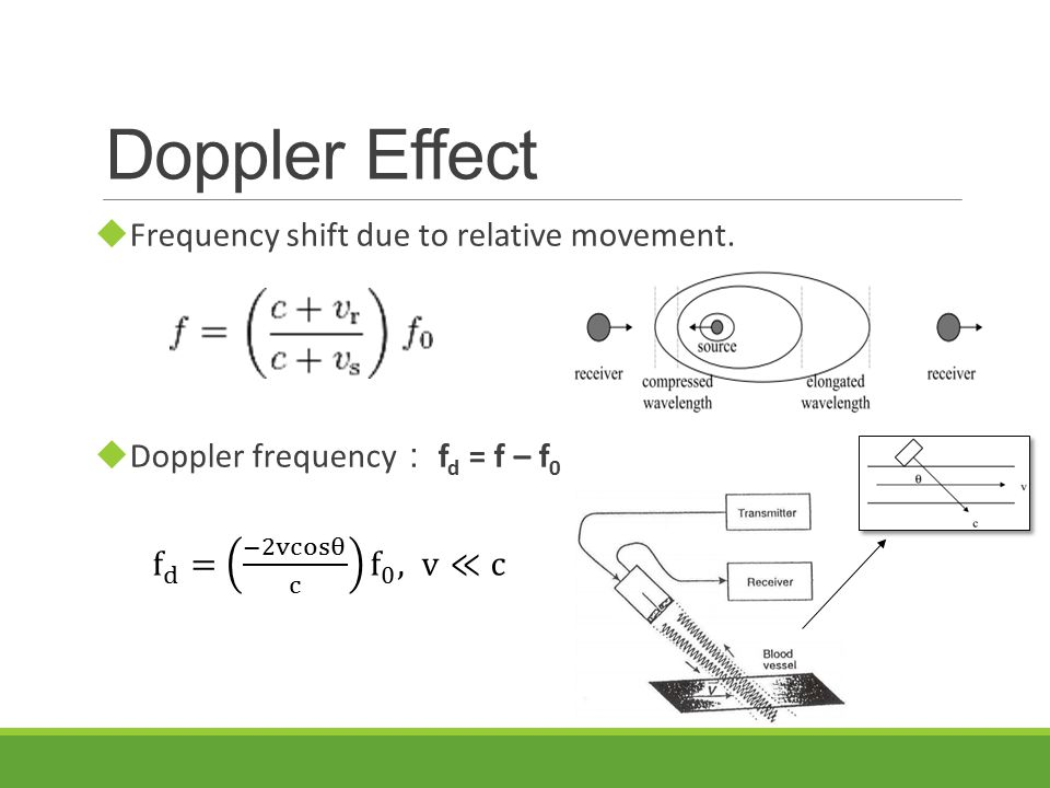 Doppler Effect  Frequency shift due to relative movement.  Doppler frequency : f d = f – f 0