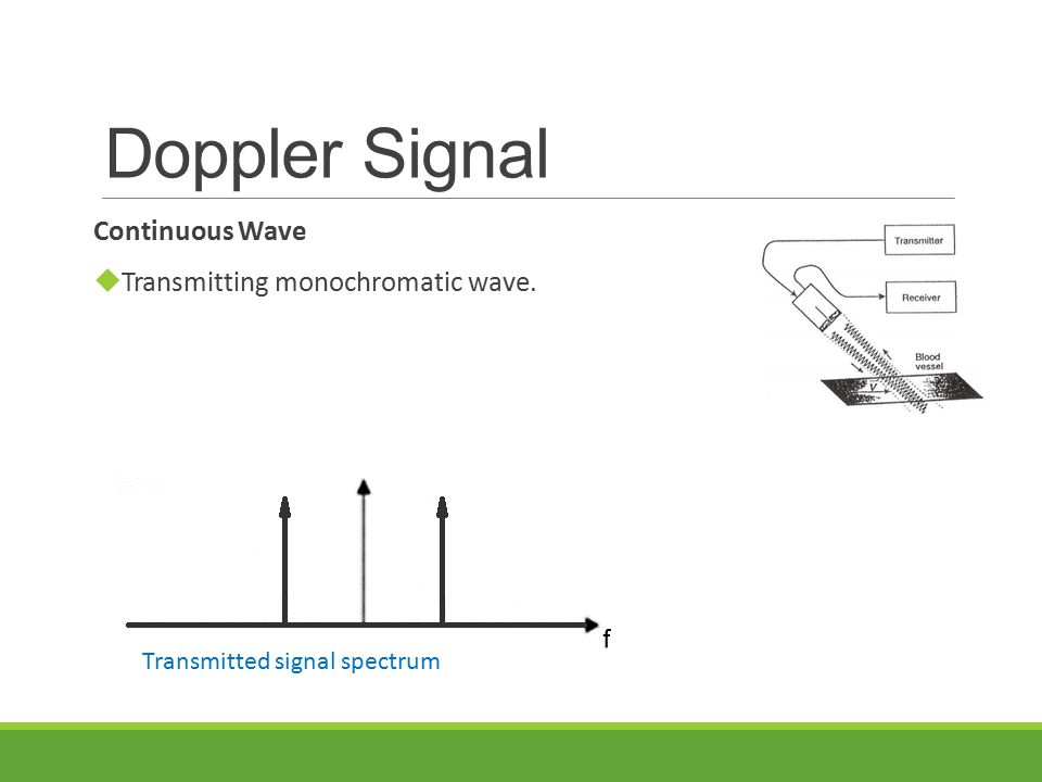 Doppler Signal Continuous Wave  Transmitting monochromatic wave.
