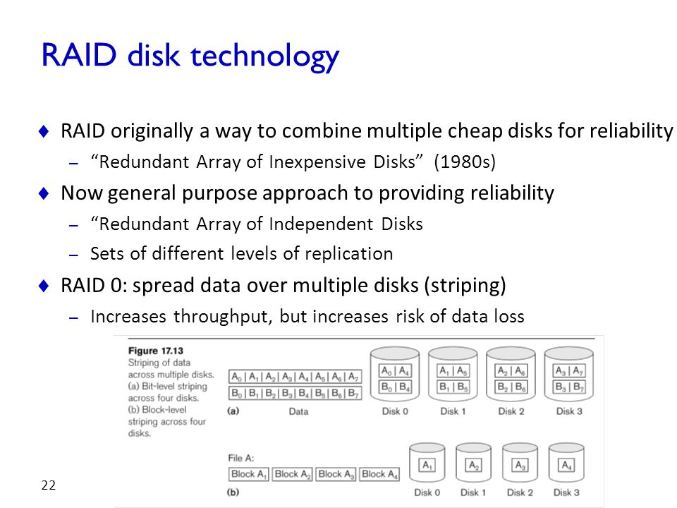 "RAID disk technology  RAID originally a way to combine multiple cheap disks for reliability – ""Redundant Array of Inexpensive Disks"" (1980s)  Now ge"