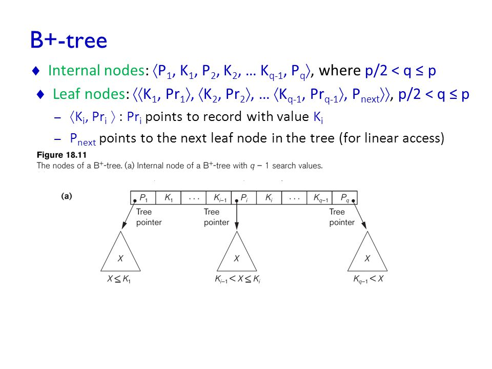 B+-tree CS346 Advanced Databases 49  Internal nodes:  P 1, K 1, P 2, K 2, … K q-1, P q , where p/2 < q ≤ p  Leaf nodes:  K 1, Pr 1 ,  K 2, Pr 2 , …  K q-1, Pr q-1 , P next , p/2 < q ≤ p –  K i, Pr i  : Pr i points to record with value K i – P next points to the next leaf node in the tree (for linear access)