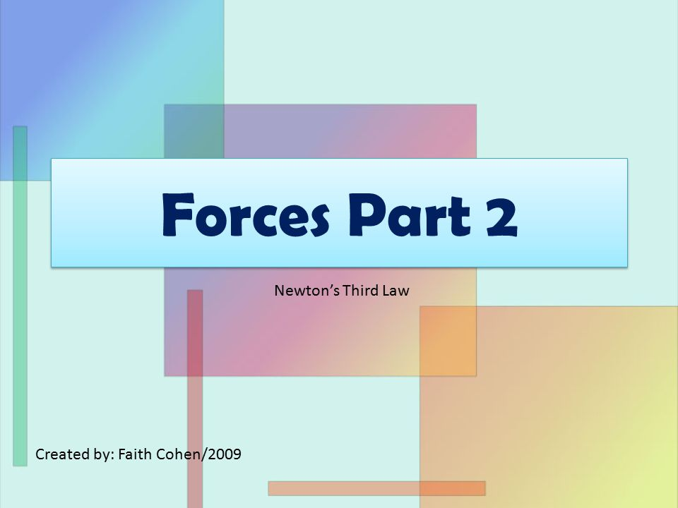 Forces Part 2 Created by: Faith Cohen/2009 Newton's Third Law