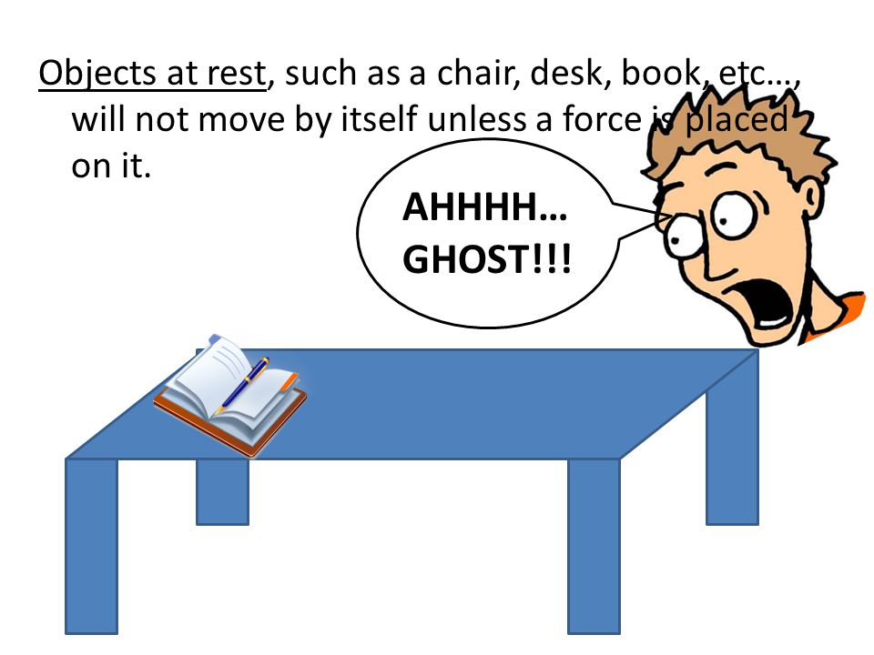 Objects at rest, such as a chair, desk, book, etc…, will not move by itself unless a force is placed on it.