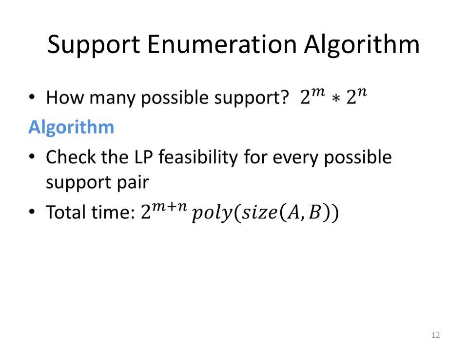 Support Enumeration Algorithm 12