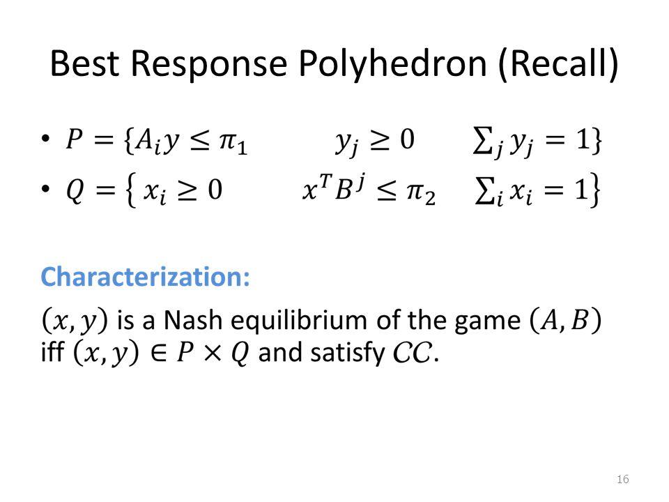 Best Response Polyhedron (Recall) 16