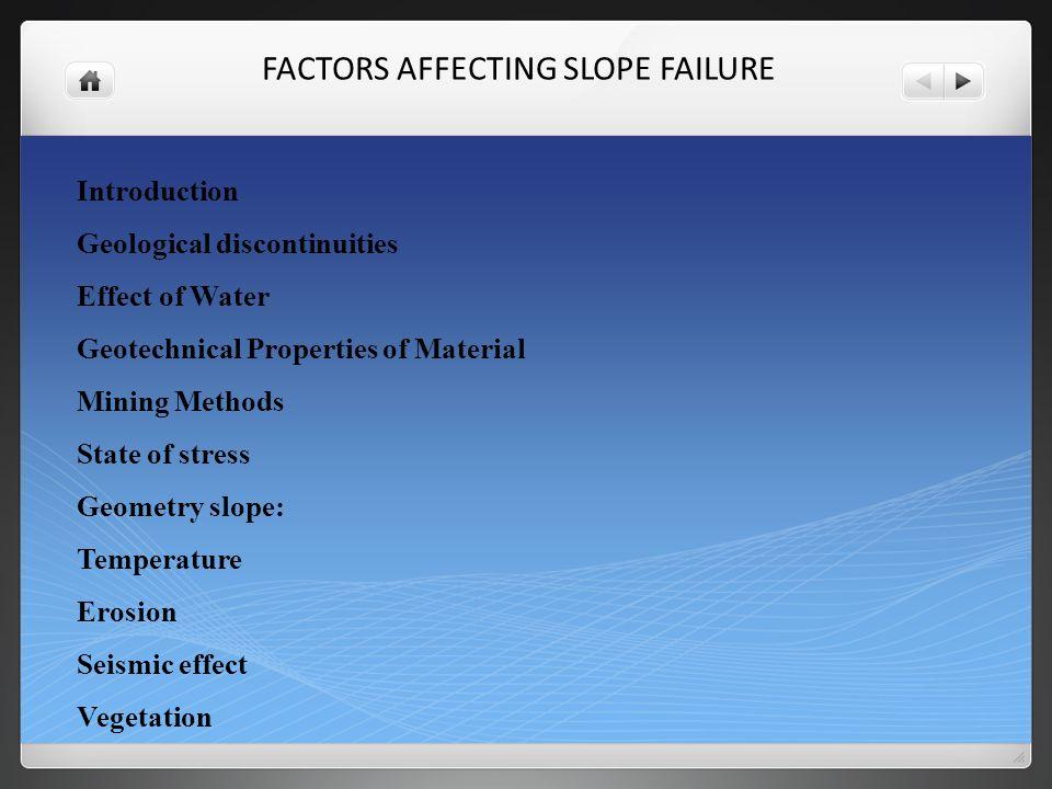 TYPES OF ROCK SLOPE FAILURE Introduction Plane failure Wedge Failure: Toppling failure Rockfalls Rotational Failure
