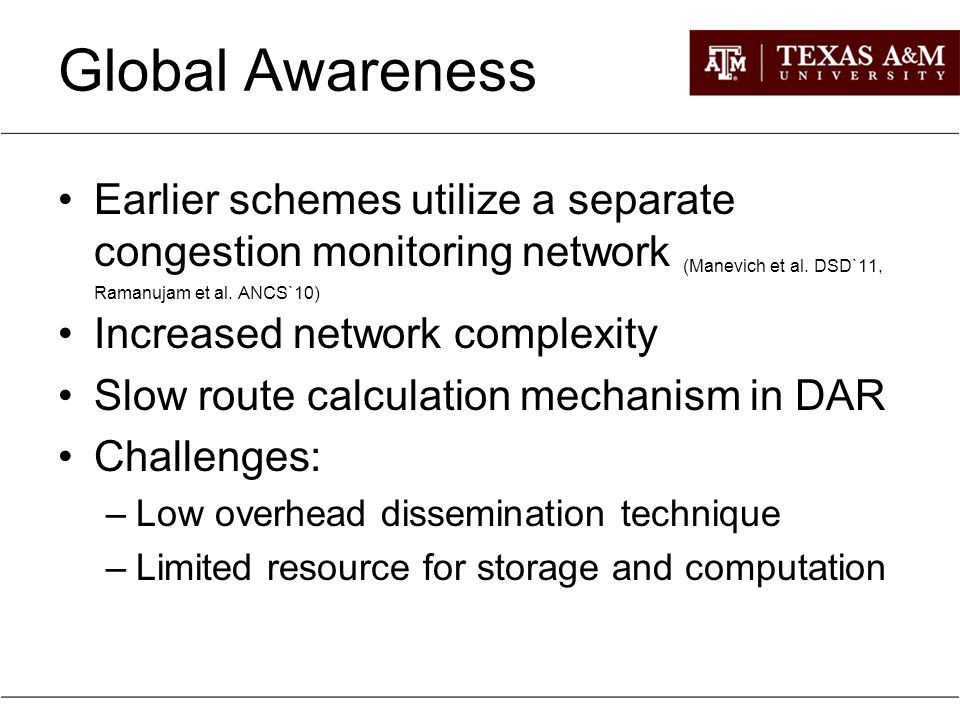 Outline Introduction Motivation for Global Awareness Global Congestion Awareness (GCA): –Route Computation –Information Propagation Implementation Evaluation Conclusion and Future Work