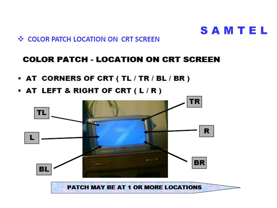  COLOR PATCH LOCATION ON CRT SCREEN S A M T E L COLOR PATCH ON CRT SCREEN