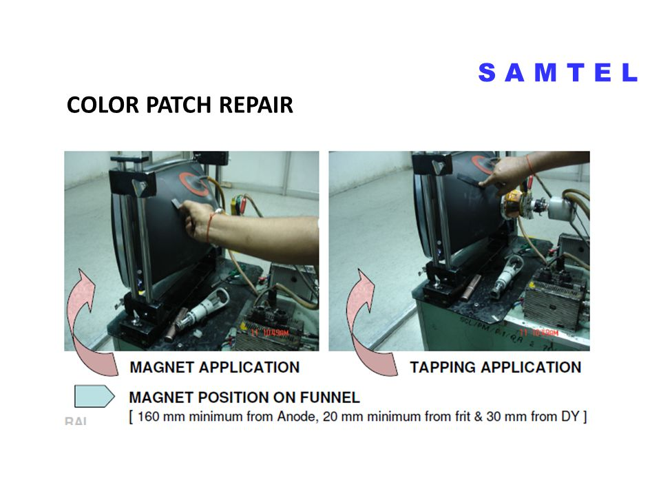 COLOR PATCH REPAIR S A M T E L COLOR PATCH ON CRT SCREEN
