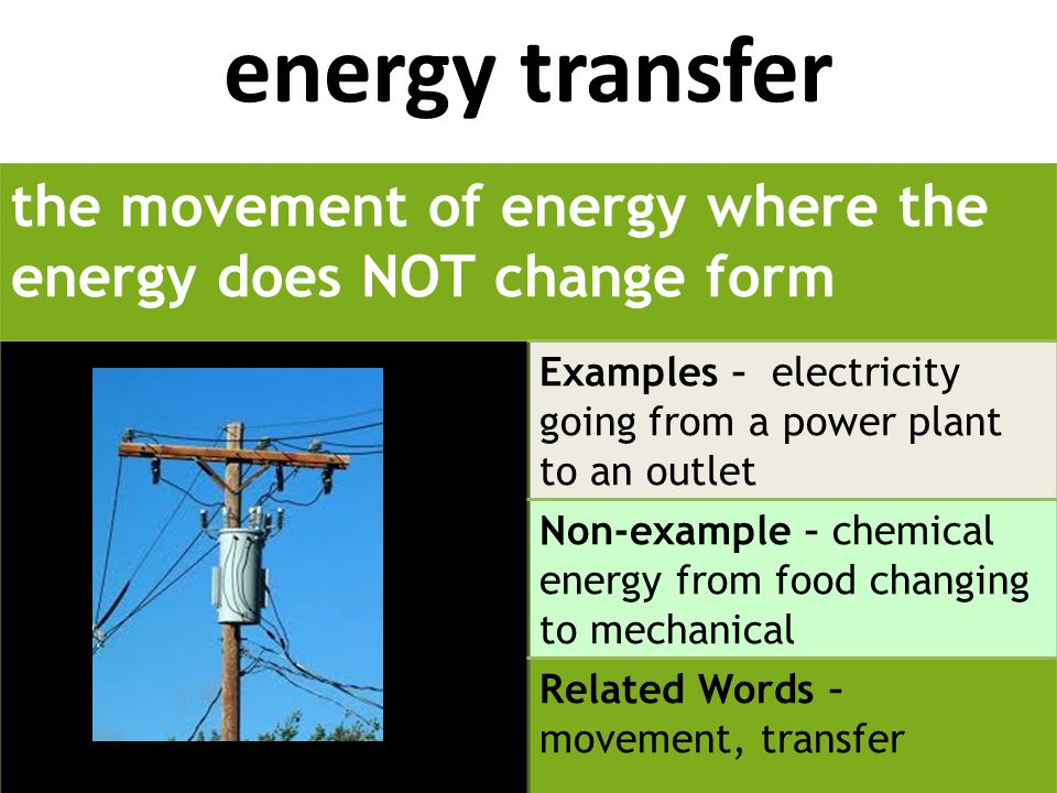 energy transfer the movement of energy where the energy does NOT change form Examples – electricity going from a power plant to an outlet Non-example – chemical energy from food changing to mechanical Related Words – movement, transfer