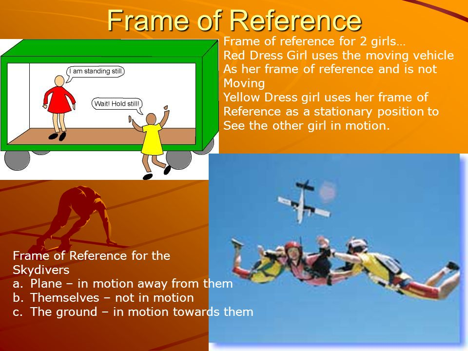 Frame of Reference Frame of Reference for the Skydivers a.Plane – in motion away from them b.Themselves – not in motion c.The ground – in motion towar