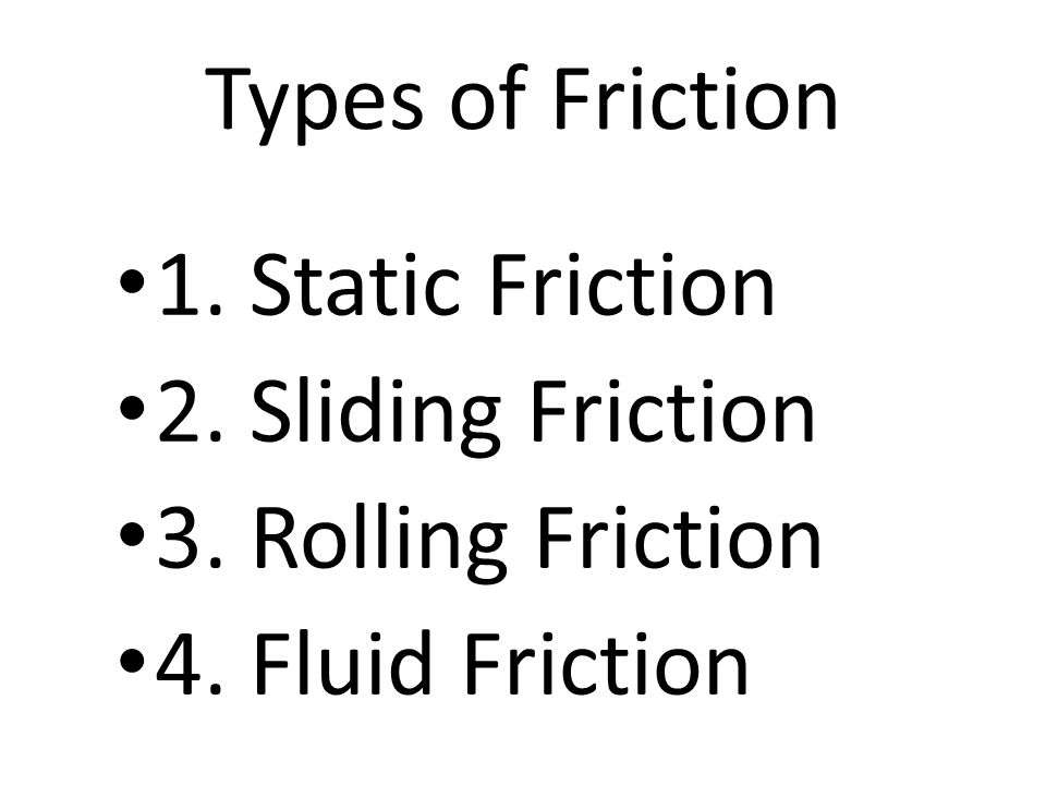 Types of Friction 1. Static Friction 2. Sliding Friction 3. Rolling Friction 4. Fluid Friction