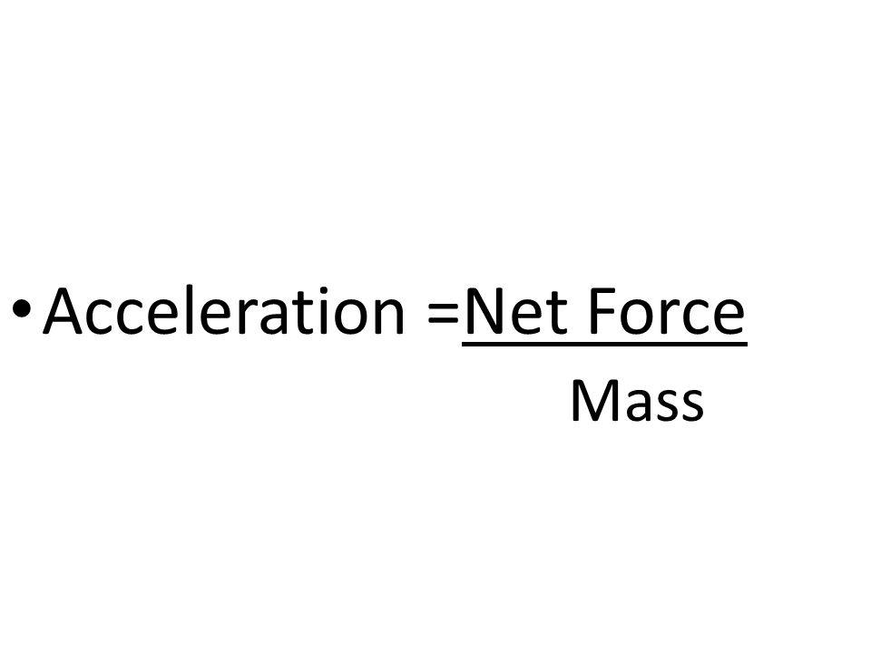 Acceleration =Net Force Mass