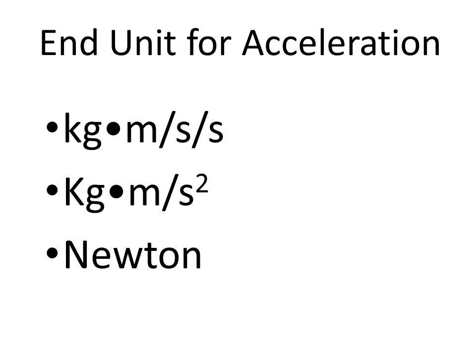 End Unit for Acceleration kgm/s/s Kgm/s 2 Newton
